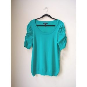 I.N.C Tropical Teal Short Sleeves Ruched Top